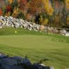 A fall day view of a hole at Belgrade Lakes Golf Club