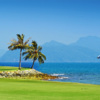 A view of two greens at The Els Club Teluk Datai