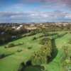 From left to right aerial view with holes no. 1, 18, 17, 7 at Musselburgh Golf Club