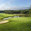 View from the par-5, 563 yards 18th hole on the Alpine course at Boyne Mountain
