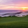A sunset view of the 11th green at Quivira Golf Club
