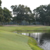A view of a green with water coming into play at Arcadian Shores Golf Club