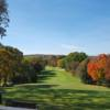 A fall day view of a tee at Blackhawk Country Club