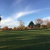 A fall day view of a hole at Hyperion Field Club