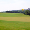 A sunny day view of a hole at Crenshaw Cliffside Course from Barton Creek Resort