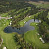 Bootleg Gap Golf - aerial view of the pond on the 18th hole