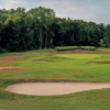A view of the 1st green at Huntington Country Club
