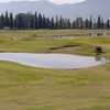A view of the 9th green with water in foreground at Jockey Club Salta