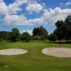 A view of a hole protected by bunkers at Corfu Golf & Country Club