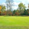 A fall day view of a hole at Bent Creek Golf Course