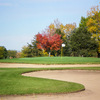 A view of hole #3 surrounded by bunkers at Bluff Creek Golf Course