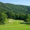 A view of a green surrounded by bunkers at Fincastle on the Mountain Golf Course