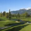 A sunny day view from the clubhouse at Squamish Valley Golf and Country Club