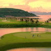 A view of a hole surrounded by water at Vinpearl Golf Phu Quoc