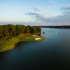 Aerial view of the 14th hole from the Great Waters Course at Reynolds Lake Oconee