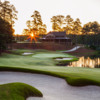 Sunset view of a green from the National Course at Reynolds Lake Oconee