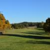 A fall day view of a fairway at Aura Golf.