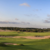 A view of a hole and a fairway at Mammoth Dunes Course from Sand Valley Golf Resort.