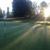A sunny view of a green at Stockholms Golf Club.