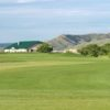 A view from a fairway and the clubhouse in the distance at Sask Landing Golf Resort.