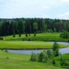 A view of green #12 surrounded by water at Memramcook Valley Golf Club.