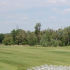 A view of a white tee at Buck's Crossing Golf Course.