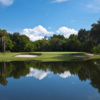 A view of a hole with bunkers and water coming into play at Mountain Lake.