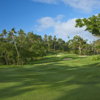 A view of the 17th green surrounded by tricky sand traps at Laucala Island Resort.