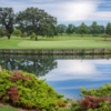 A view over the water of a green at Muscatine Golf Course.