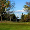 A fall day view of a tee at Forest Heights Golf Course.