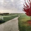 A fall day view of a tee at Airport National Public Golf Complex.