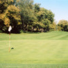 A fall day view of a green at Geneva Golf Club.