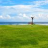 A view of a tee at Villingili Golf Course from Shangri-La Villingili Resort & Spa.