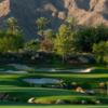 A view of a well protected hole at Celebrity Course from Indian Wells Golf Resort.