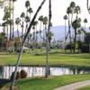 A view over a pond at Omni Rancho Las Palmas Resort.
