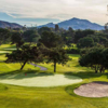 A view of a hole flanked by bunkers at Oaks North Golf Course.