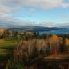 A fall day view of a fairway at Le Manoir Richelieu Golf Club.