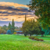 A splendid fall day view of a fairway at Ancil Hoffman Golf Course.