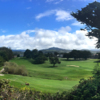 A sunny day view of a hole at Half Moon Bay Golf Links.