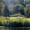 A view over the water of a hole at Midland Trail Golf Club.