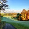A fall day view of a fairway at Manitou Passage Golf Club.