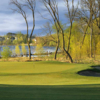 A view of a hole with water in background at Wilds Golf Club.