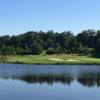 A view over the water of a hole at Pleasant Valley Golf Club.