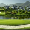A view of green #10  protected by bunker at Montagu Course from Fancourt Hotel and Country Club Estate