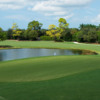 A view of a green with water coming into play at Bear's Paw Country Club.
