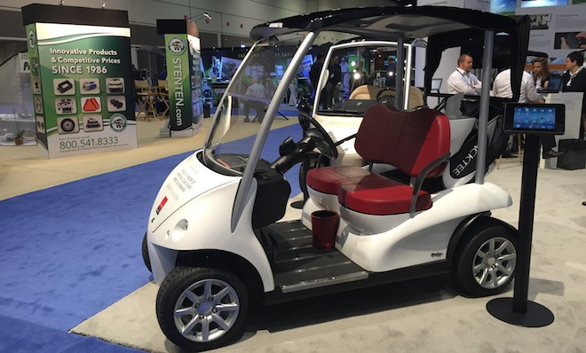 This one reminded us of a Smart Car, turned into a golf cart. At least it looks somewhat practical...