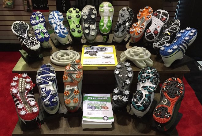 Soft spikes cleverly showed off their Pulsar golf cleats on some colorful soles.