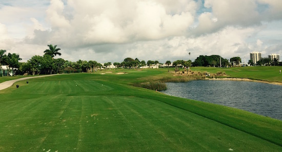 The par-3 15th at North Palm Beach Country Club stretches to nearly 250 yards from the tips, but is fair for all players, with a big green and space to miss on the right.