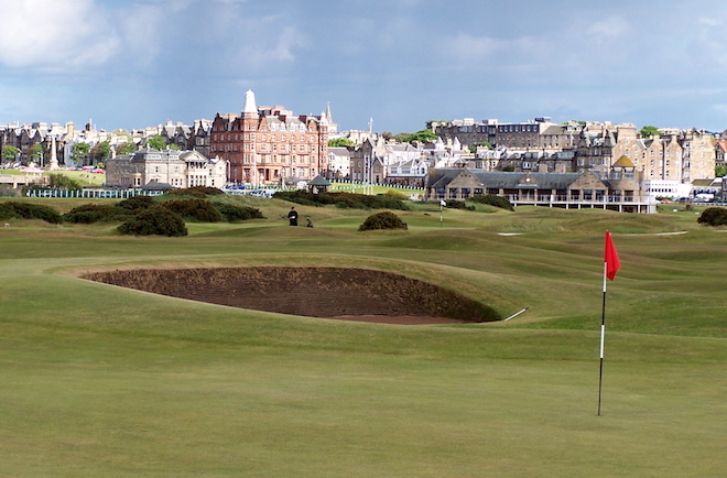No one docks The Old Course any points for playing out of and back into the Auld Grey Toon. In fact, it's a big part of the charm. (Larry Gavrich)