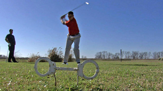Golfers at Prison View Golf Course in a photo released by the Golf Channel.
